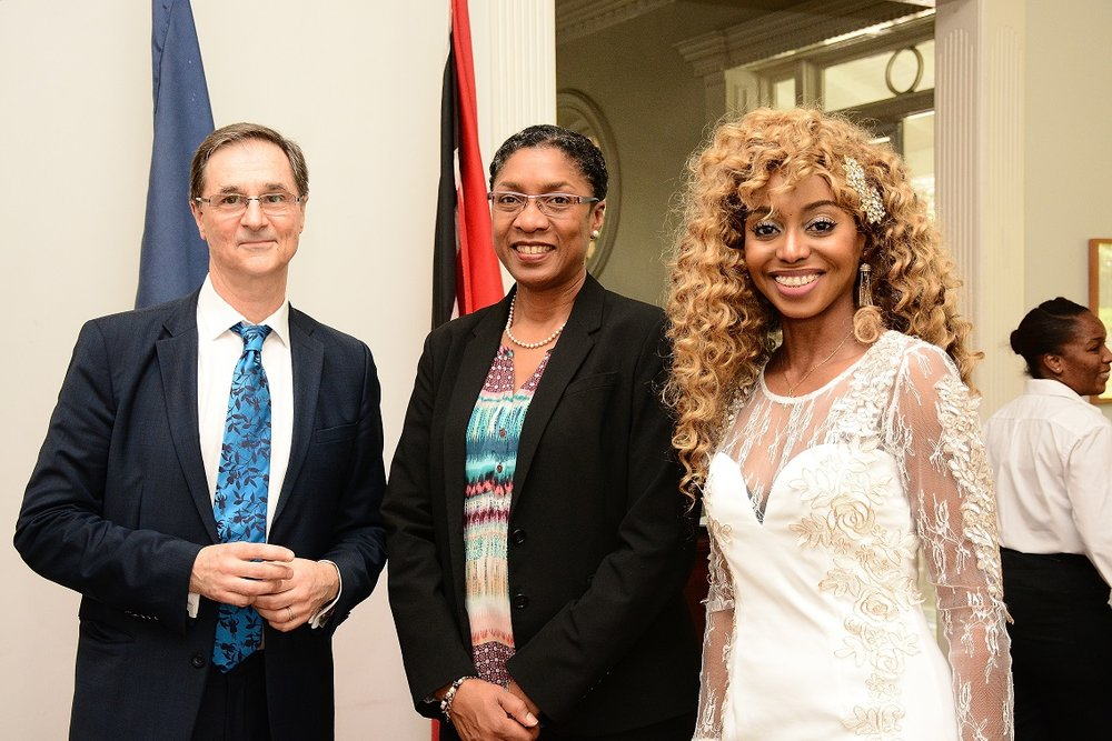 From left to right: the Ambassador, Ms. Reita Toussaint, PS, Ministry of Foreign and CARICOM Affairs, Mrs. Caroline Lavroff
